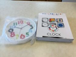 Maple's Contemporary Bold Colorful Numbers Plastic Wall Clock 12 White RS9649