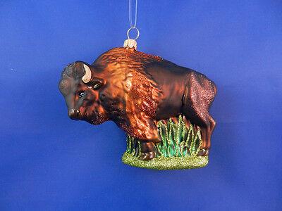 American Buffalo Bison Christmas Ornament Glass Western Animal Poland 011222