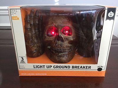 NEW Halloween Scary Light Up Skeleton Skull Ground Breaker Sound Graveyard Prop - Graveyard Halloween Sounds