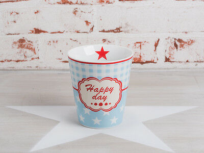 Krasilnikoff Happy Mug Becher HAPPY DAY Blau Sterne weiß Stern rot Blau Weiß Mugs