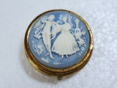 Vintage Metal Small Compact Pill Box Victorian Couple Dancing Blue & White Top