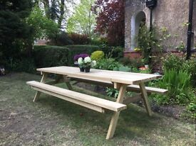Large 3 meter Garden picnic table and bench sits 10 people.