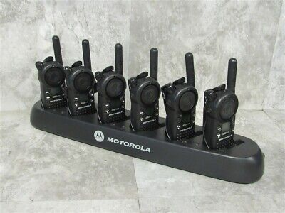 Lot Of 6 Motorola Cls1110 Uhf Two-way Radios W 6 Slot Gang Charger Tested