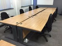 we have 1.2 meter desks in great condition also have matching pedstals