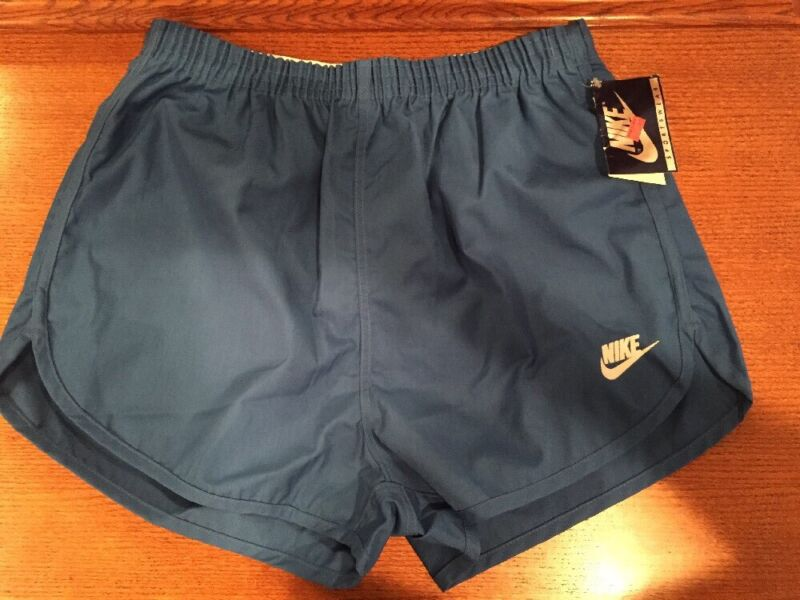 NOS Mens 70s 80s Nike Blue Running Shorts Made in USA Size Large, Blue Tag L