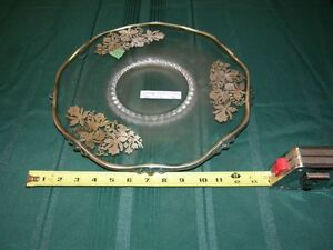 VINTAGE Sterling Silver Overlay Glass Cake Plate Serving Platte