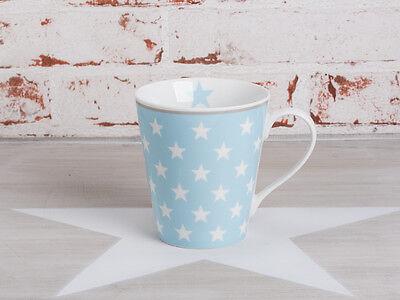 Krasilnikoff Happy Mug Henkel Becher STERNE Blau weiß hellblau Stern Tasse Blau Weiß Mugs