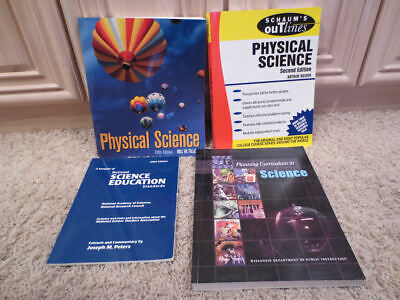 4 TEACHER EDUCATION BOOKS SCHAUM'S OUTLINES, PHYSICAL SCIENCE, CURRICULUM LOT for sale  Shipping to South Africa