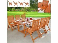 **FREE & FAST UK DELIVERY** Solid 6-Seat Eucalyptus Wood Folding Garden Dining Table Set