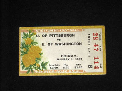 1937 ROSE BOWL TICKET STUB -  Pittsburgh & Washington