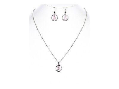 Pink Ribbon Metal Epoxy Coat Pendant Jewelry Set ~ Gift Idea! - Pink Ribbon Ideas