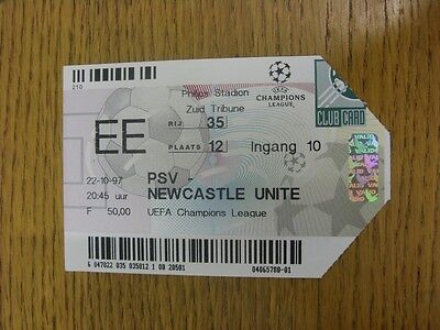 22/10/1997 Ticket: PSV Eindhoven v Newcastle United [Champions League]. Trusted