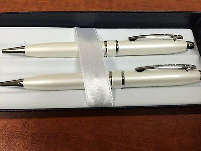 Cross Pearlescent White Ballpoint Pen and 0.7mm Pencil Set