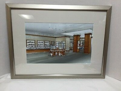 Tiffany and Co Interior New York Store Artist Rendering Framed Remodel  (Original Tiffany Store)