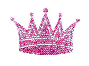 Queen Princess Royal Crown Pink Crystals Car Truck SUV Home Window Decal Sticker
