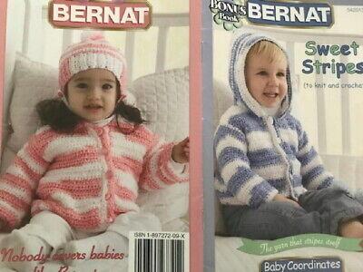 Knit Crochet pattern BERNAT BABY COORDINATES STRIPES hooded sweater hat afghans