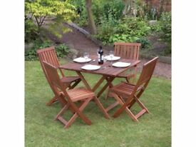 **FREE & FAST UK DELIVERY** 5-Piece Garden Natural Hardwood Folding Table & Chairs Set