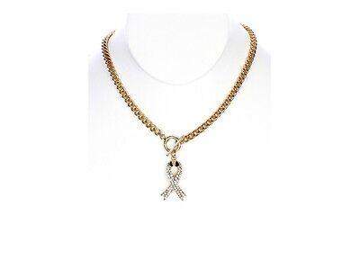 Goldtone Pink Ribbon Crystal Stone Metal Pendant Toggle Necklace ~ Gift Idea! - Pink Ribbon Ideas