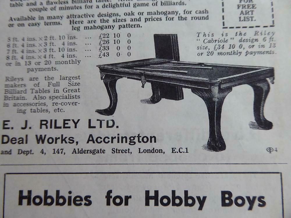 RILEY BILLIARD TABLE CUM DINING TABLE  1934 HIGHLY INTERESTING ADVERT FOR RILEY