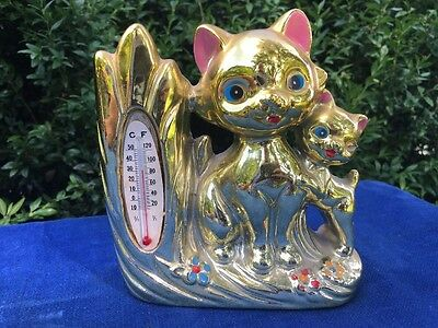 Vintage Antique Chinese GOLD LUCKY HAPPY CAT Vase & Thermometer FENG SHUI