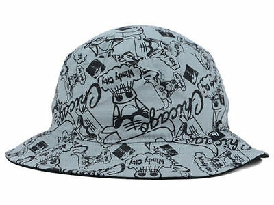 Chicago Bulls Mitchell and Ness NBA All Over Print Charcoal Black Bucket Hat L/X
