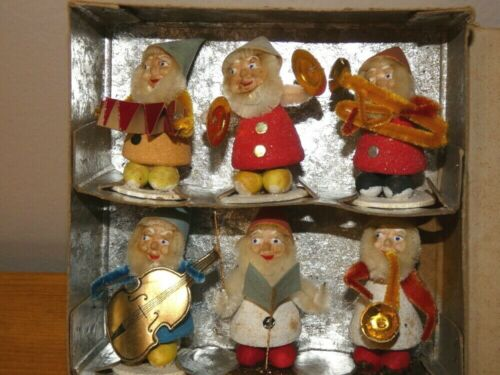 Vintage 1950s Christmas Putz Flocked Elf Band Lot With Original Box Japan