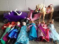 7 x Barbie dolls, car, scooter, walking horse - Frozen Anna Elsa Ariel Aurora Island Princess