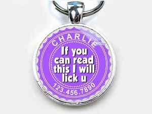 If You Can Read This I Will Lick U eggplant CUSTOM funny ID pet dog cat tags