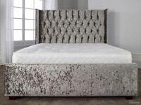 Wing Crushed Velvet Bed