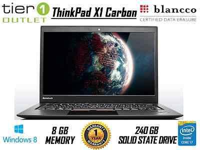 Lenovo ThinkPad X1 Carbon i7-4600U 240GB SSD 8GB Ram Windows 8.1 Laptop Webcam
