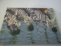 "Unique Hand Crafted Art Tile 14"" x 11"" of Zebras"