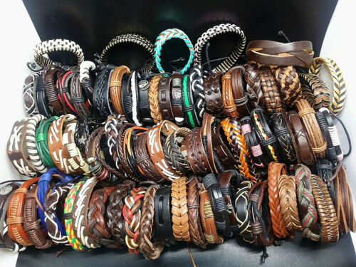 Wholesale 100pcs Mix Lots Handmade Leather Cuff Bracelets for Men Women Jewelry