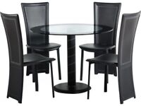 *FAST & FREE UK DELIVERY* Seconique Black Round Glass Table Dining Set with 4 Faux Leather Chairs