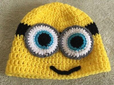 Handmade Crocheted Yellow Black Minions Winter Beanie Hat Kids One Size