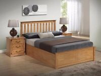 40% OFF NOW -- BRAND NEW DOUBLE WOODEN OTTOMAN GAS LIFT UP STORAGE BED IN WHITE OR PINE WOOD