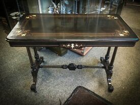 Victorian Ebonised Hall table with Bone Inlay