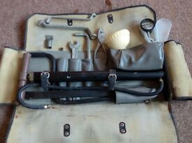 VINTAGE LADA TOOL CASE COMPLETE WITH TOOLS RARE LEATHER TOOL CASE