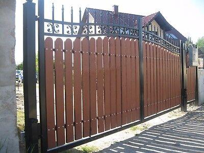 Metal Box + Hardwood Quality Swing Wrought Iron-Timber Driveway Double Gates