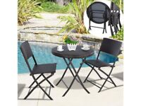 **FREE & FAST UK DELIVERY** 3 Piece Foldable Backyard Rattan Garden Set - BRAND NEW!