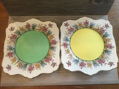 Grimwades Rideau Ware 2 Square Plates Hand Painted Henry Birks   Sons Montreal