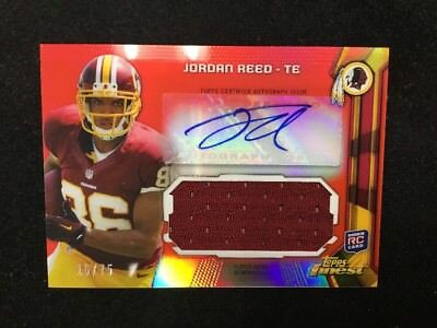 JORDAN REED 2013 Topps Finest Football Red Refractor Rookie Jersey Auto 16/75 RC image