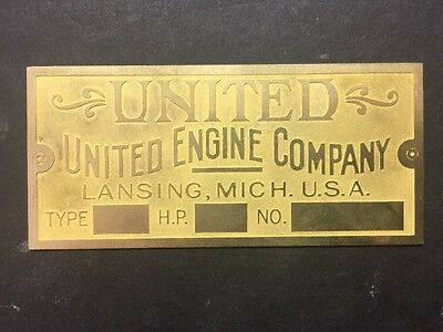 New United Etched Brass Tag Antique Hit Miss Gas Engine