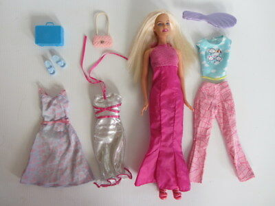 BARBIE DOLL FASHION PACK LOT - Early 2000s Doll + Extra Clothes, Shoes & Bags