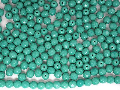 600 Preciosa Czech Glass Fire Polished Beads 3mm Green Turquoise opaque