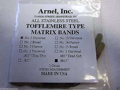 Tofflemire Stainless Steel Matrix Bands 13 .0015 Universal Pedo288pk Dental