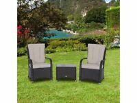 **FREE UK DELIVERY** 3 Piece Rattan Chair Set And Table - BRAND NEW!