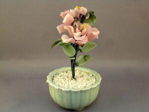Vtg-Jade-Glass-Bonsai-Tree-Chinese-Japanese-Art-Oriental-Flower-Blossom-in-Vase