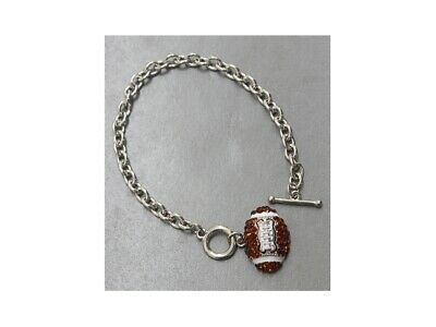 Crystal Accent Sports Theme Chain Toggle Bracelet ~ Gift - Sports Theme Ideas
