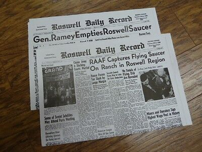 A 54  July 8   9 1947 Roswell Crash Newspaper Front Pages Ufo Alien Space Ship