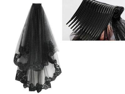 2T Black Lace Cathedral Birdcage Wedding Mantilla Gothic Veil Hallowmas Cosplay
